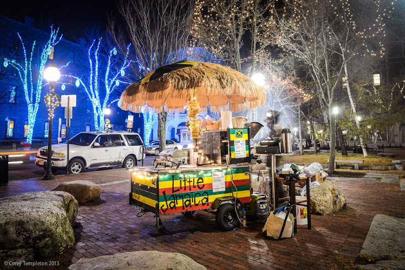 Little Jamaica Food Cart in Post Office Park. Portland, Maine Old Port. December 2013. Photo by Corey Templeton.