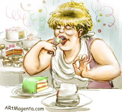 Birthday cake is a cartoon by artist and illustrator Artmagenta