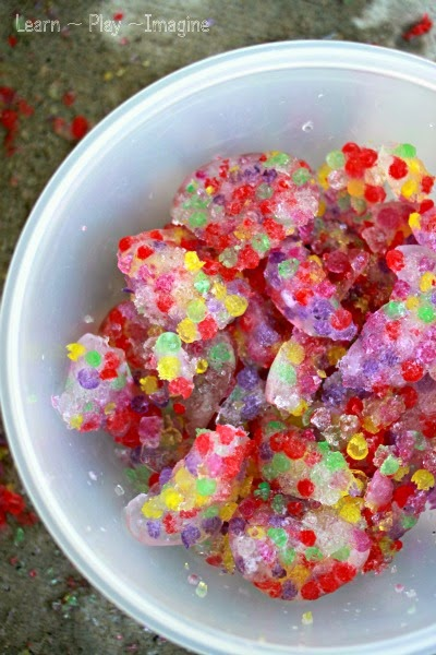 Sensory play with frozen water beads - perfect sensory play for a hot summer day.