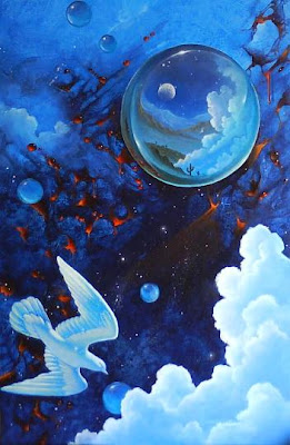 abstract painting in blues with clouds, moons, a white bird, and branch with red berries