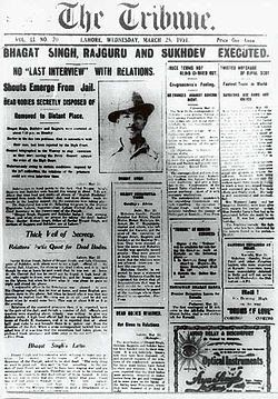 The tribune announcing execution of Bhagat Singh, Rajguru and Sukhdev