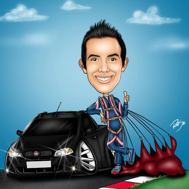 caricatura de paraquedista com sua strada muito louca tunada !!!