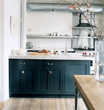 This little piglet blue kitchen cabinets for Kitchen cabinets blue