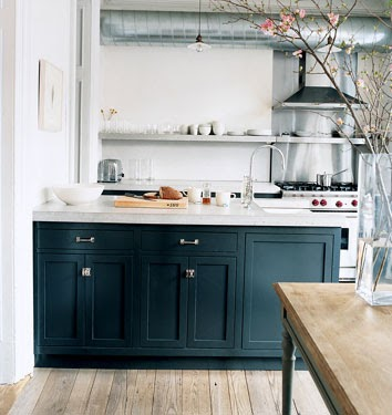 Navy Cabinets White Countertops Kitchen