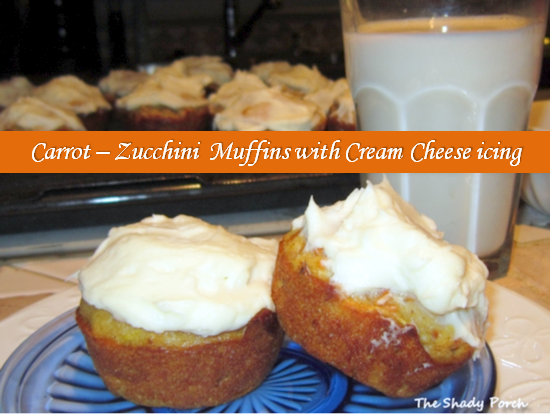 Carrot and Zucchini Muffins with Cream Cheese Icing #Dessert #Sweets #Muffins #Snack