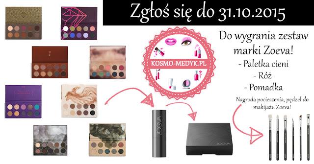 Wygraj zestaw produktów marki Zoeva - Paletka, róż, pomadka + pędzel.