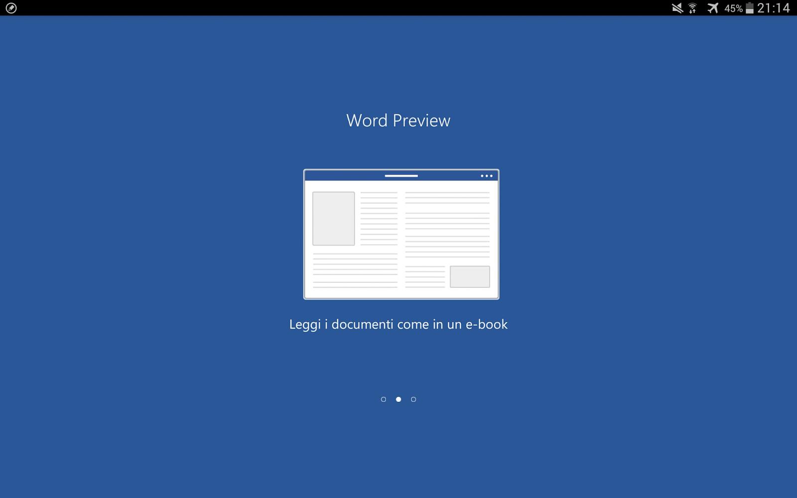 seconda schermata del tutorial iniziale di word per tablet