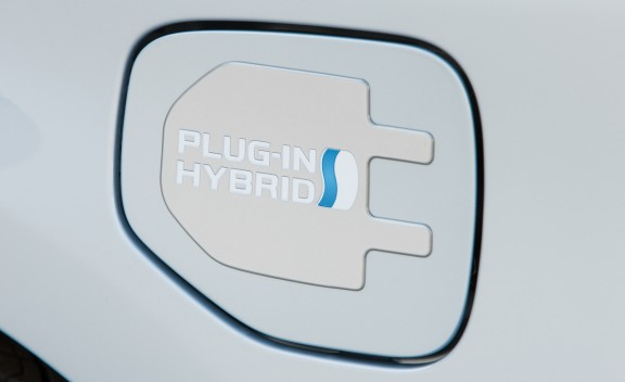 Detail shot of 2012 Toyota Prius Plug-In Hybrid power port
