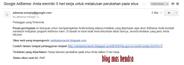 Penampakan Email Masuk dari Google - Blog Mas Hendra
