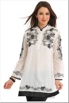 white kurta with black thread embroidery on it thumb2 - ~*Kurtaas On JeanzZ*~