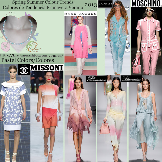 Pastel. Spring summer Colour trends Colores de tendencia primavera verano 2013 Pasarela Catwalk chanelmissoni blumarine custo barcelona moschino marc jacobs