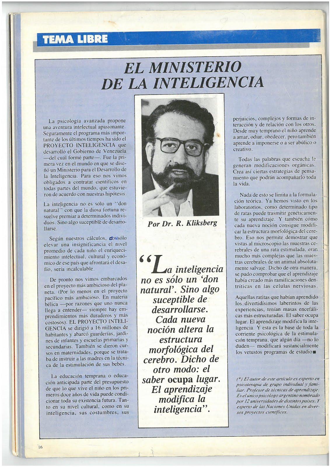 32 - Revista Cambiemos, Argentina, 6/1987. Artículo de Naum Kliksberg.