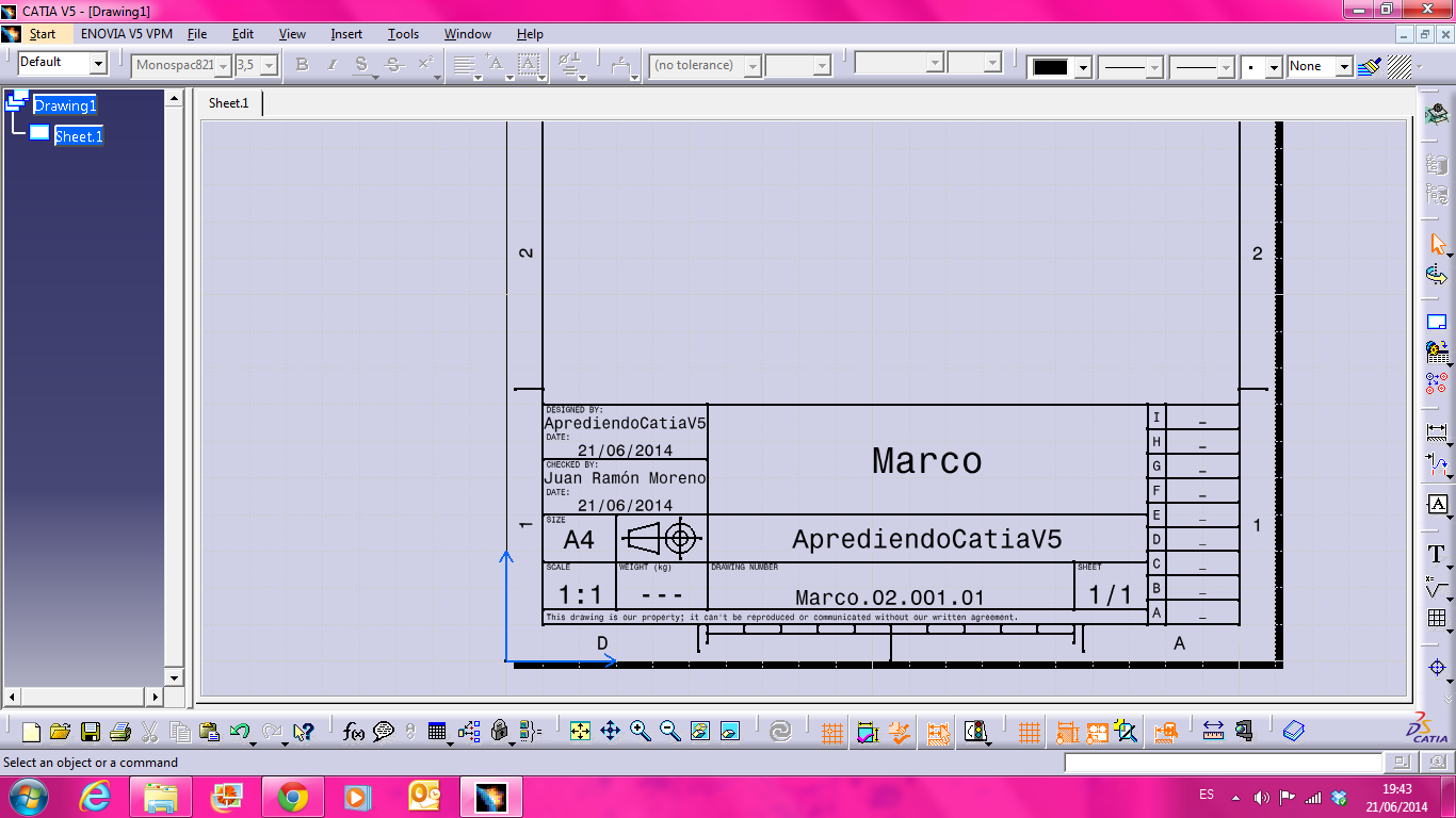 Marco(Drawing) | AprendiendoCatiaV5
