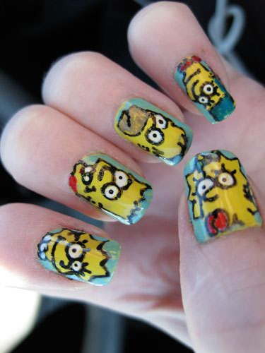 Character Design Nail Art : Cartoon character nail designs