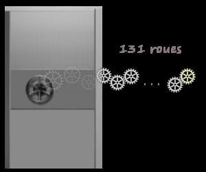 enigme porte à engrenages de 131 roues nombre pair de roues dentées