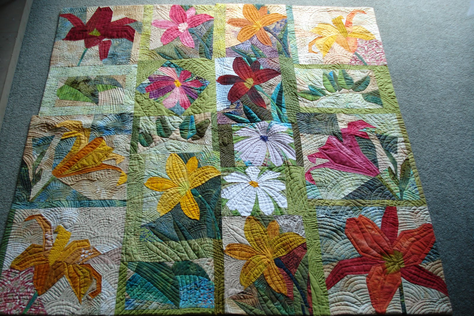 Welsh Quilts Pieced Flowers And Vegetables Quilts