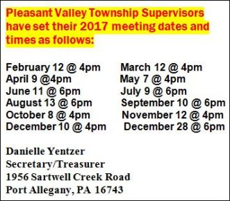 Pleasant Valley Township Meeting Dates