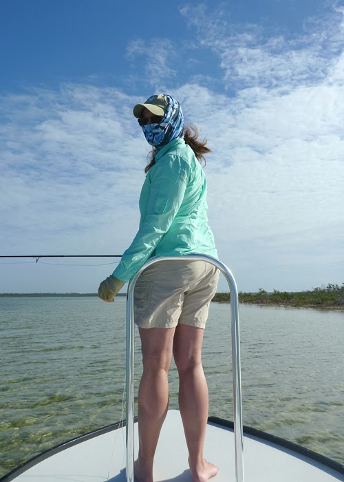 Kat Rollin ready to hunt for bonefish on the Marls, Abaco, the Bahamas