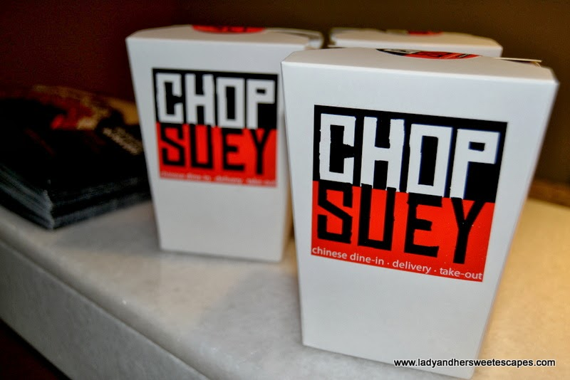Chop Suey restaurant's white Chinese take away food box