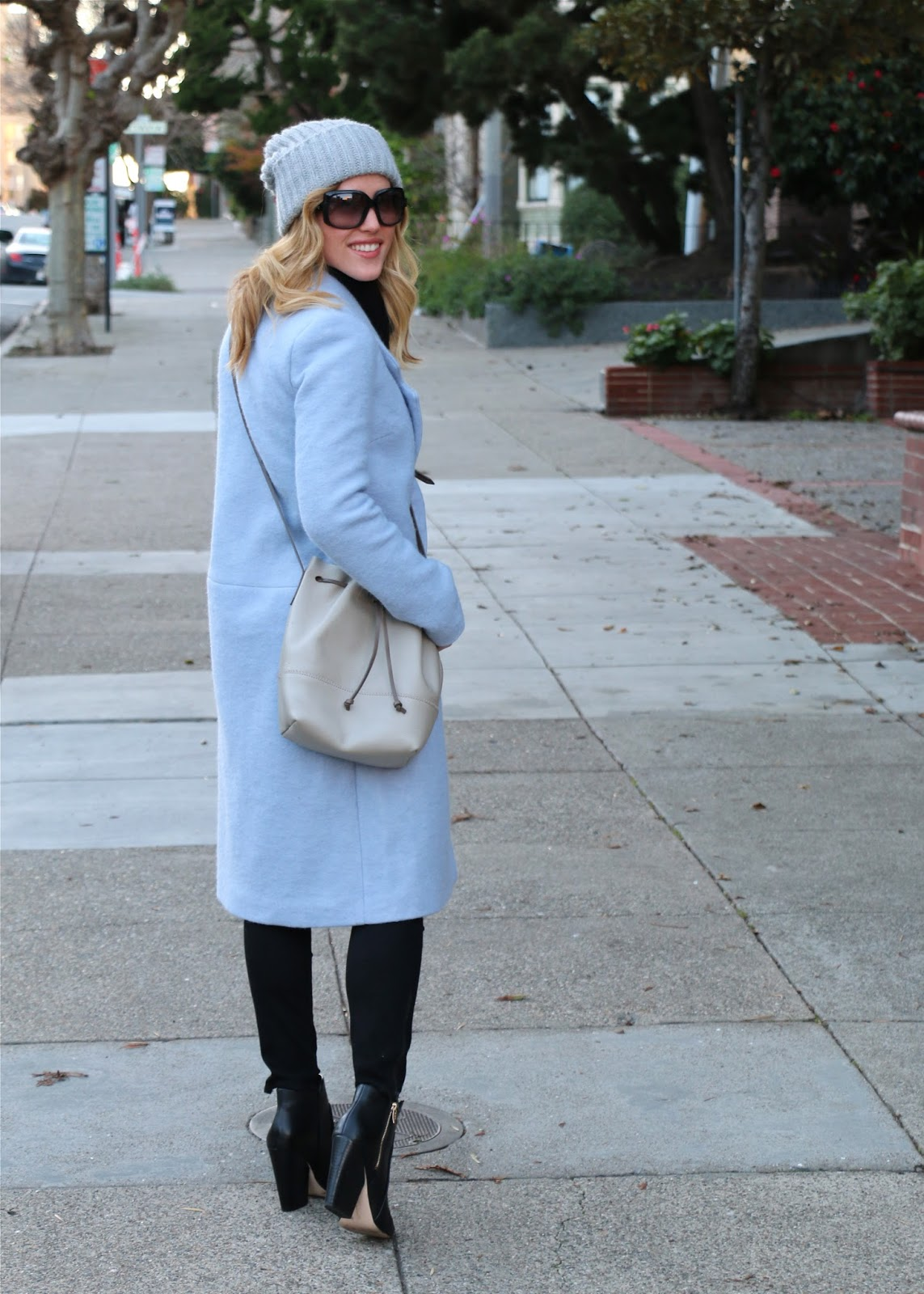long pastel light blue coat