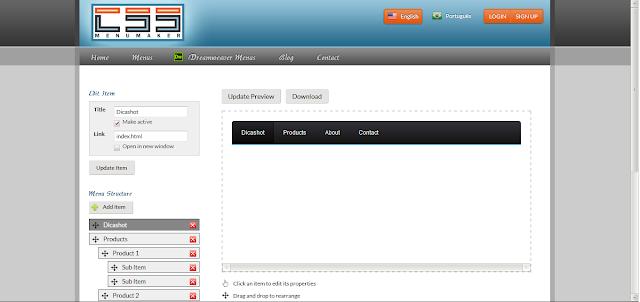 Instalando um menu CSS no blogger
