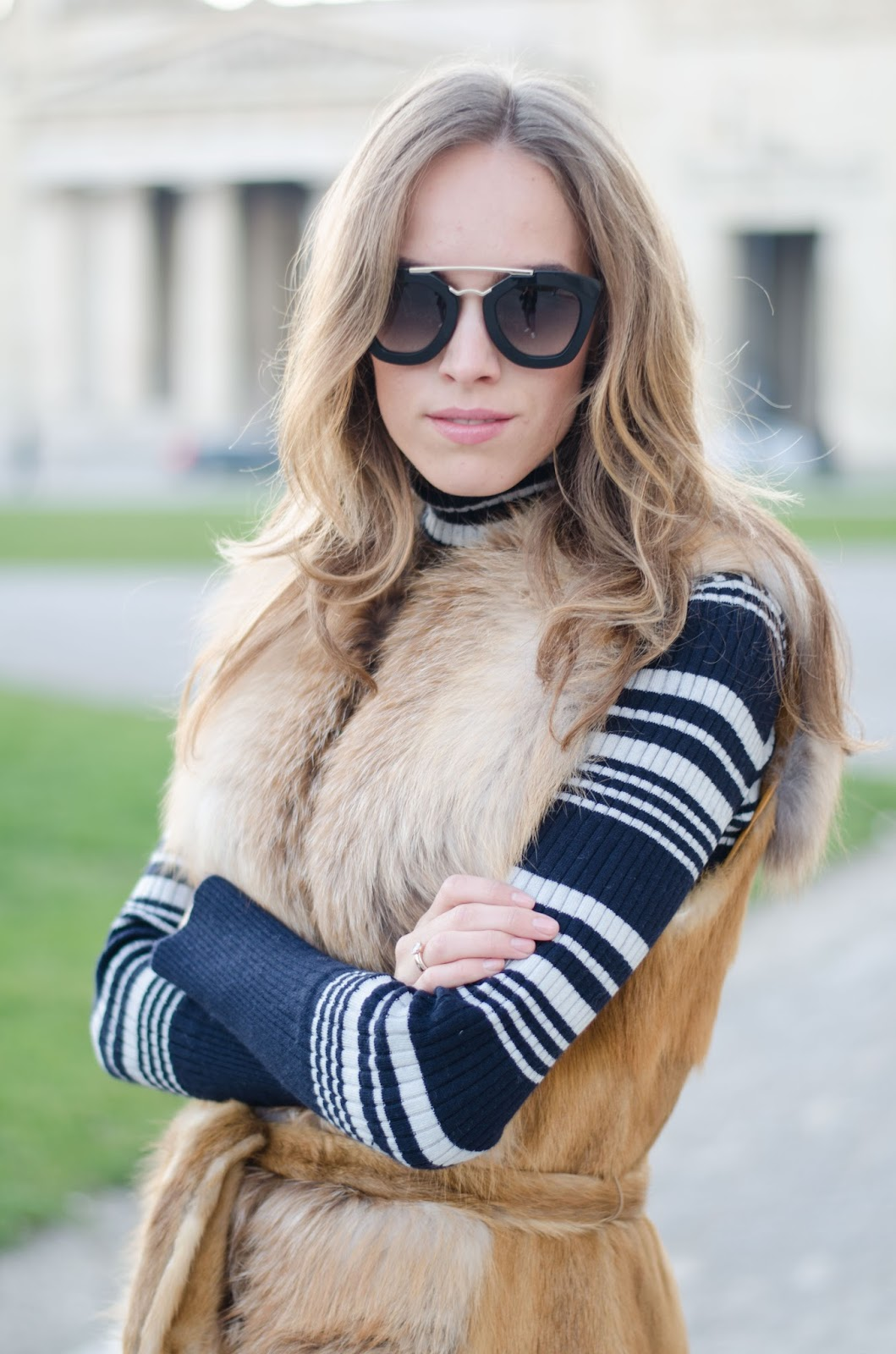 kristjaana mere fox fur vest prada sunglasses lindex striped jumper
