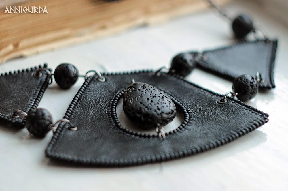 украшения, женские украшения, колье, серьги, кожа, вулканическая лава, черный, рок, байкер, неформальный стиль