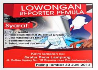 Lowongan Kerja Reporter Pemula 25 Juni 2015