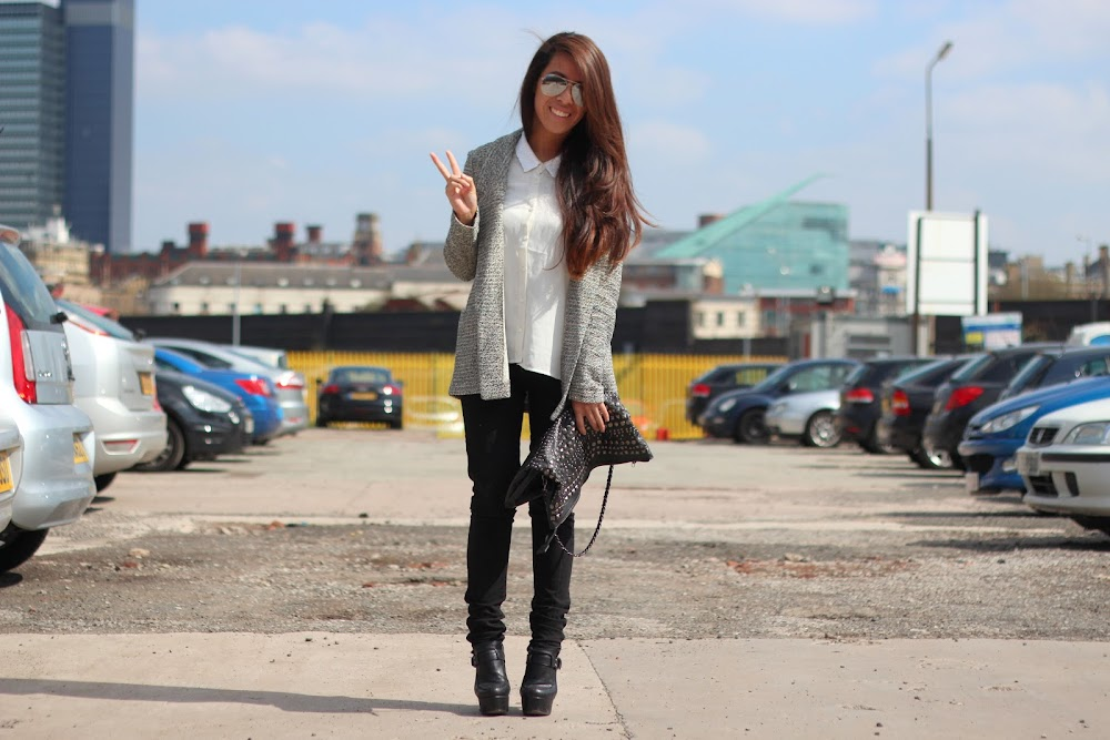 Primark blog, what I wore today, work casual blazer, studded bag