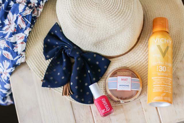 Combishort, Chapeau, vernie essie, The MAT Bourjois et crème solaire
