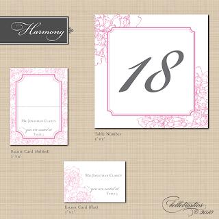 harmony peony printable diy wedding reception stationery designs