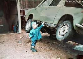 Cute Baby Lifting Car