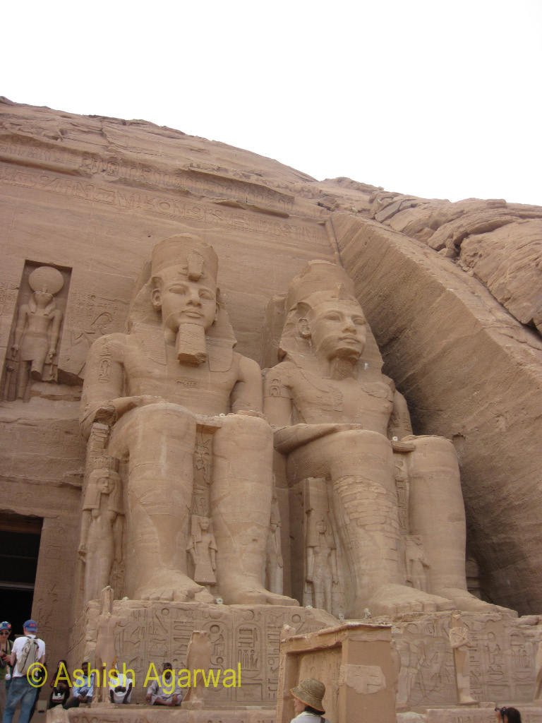 Two of the large statues outside the great temple of Abu Simbel in south Egypt