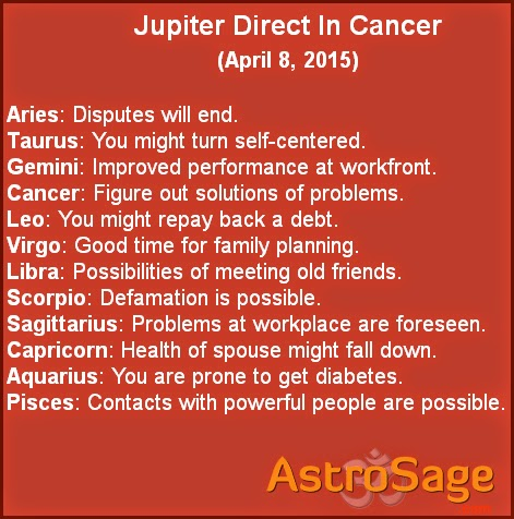 Jupiter direct in Cancer will affect your life directly or indirectly..