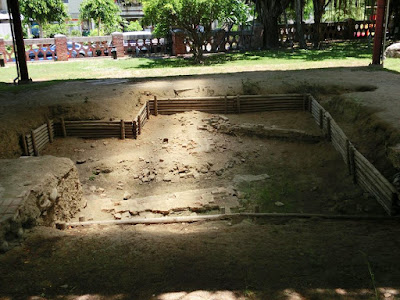 Excavation pits in Fort Zeelandia Tainan Taiwan