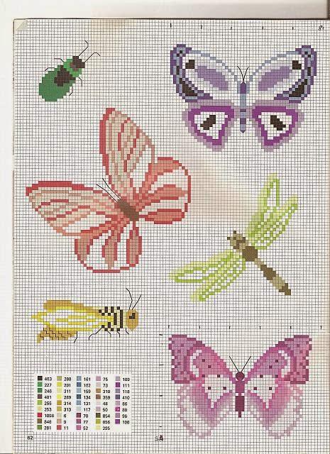 Hobby lavori femminili ricamo uncinetto maglia for Piccole farfalle a punto croce