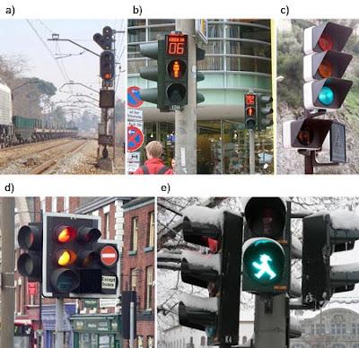Semáforos ferroviarios y urbanos.