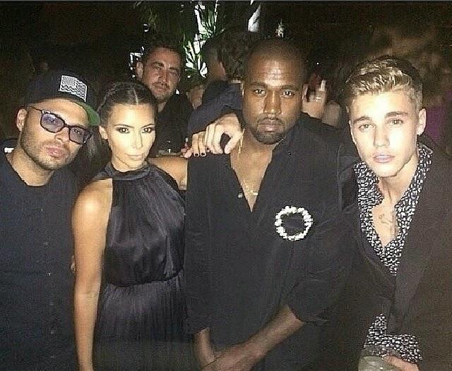 Justin Bieber junto a Kim Kardashian y Kanye West