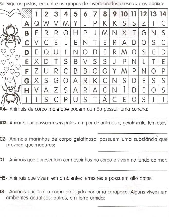 ANIMAIS VERTEBRADOS E INVERTEBRADOS – ATIVIDADES E DESENHOS COLORIR IMPRIMIR