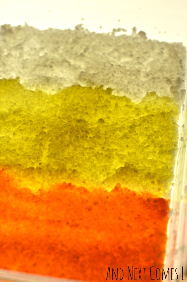 Halloween sensory play on the light table for toddlers and preschoolers that's inspired by candy corn from And Next Comes L