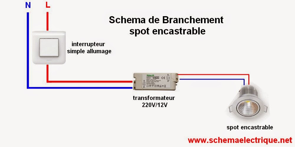 schema branchement cablage installation spot encastrable led