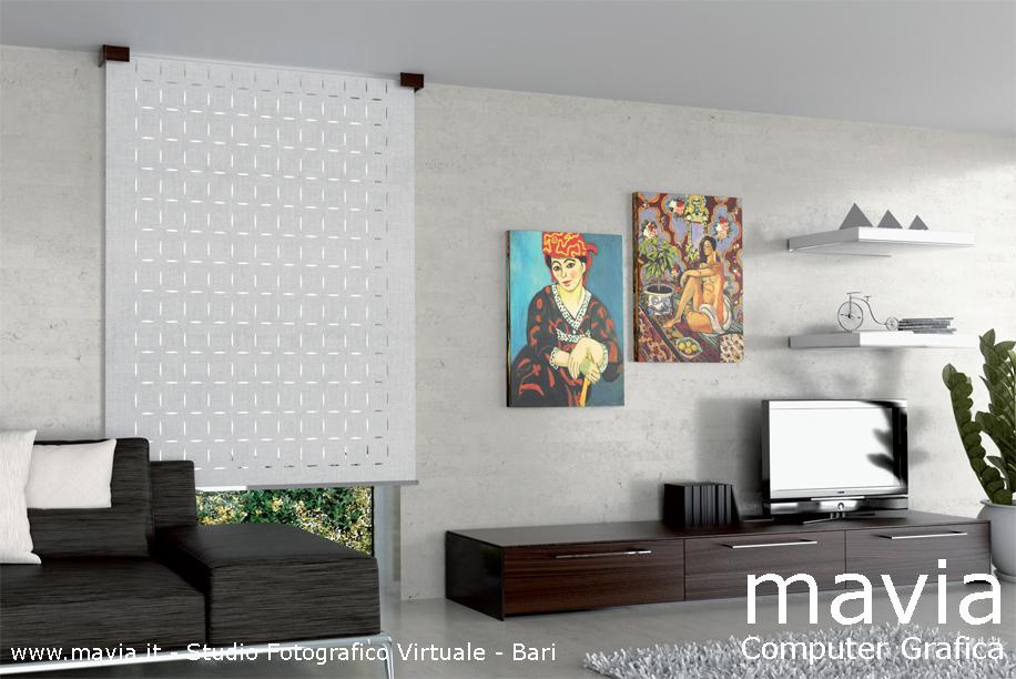 Arredamento di interni tende arredo casa rendering - Tende per soggiorno moderno ...