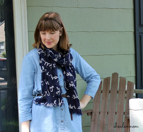 Chambray Dress with Scarf for Work | www.shealennon.com