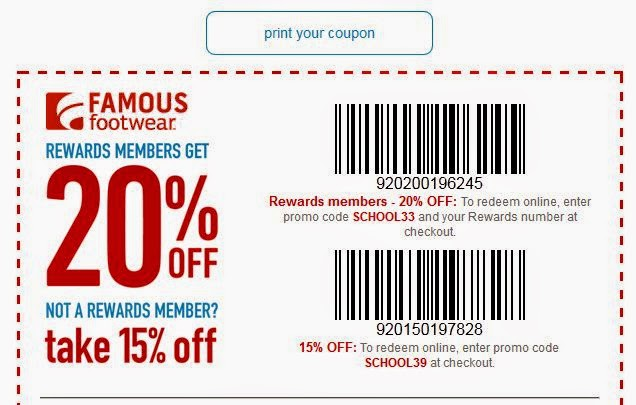 Printable Famous Footwear Coupons Find top brand name shoes at Famous Footwear locations throughout the US. With these Famous Footwear coupons you can get a few offers printable off their footwear and shoes sold online and at their store locations. Sign up by the end of and you can even get $5 off your next purchase.