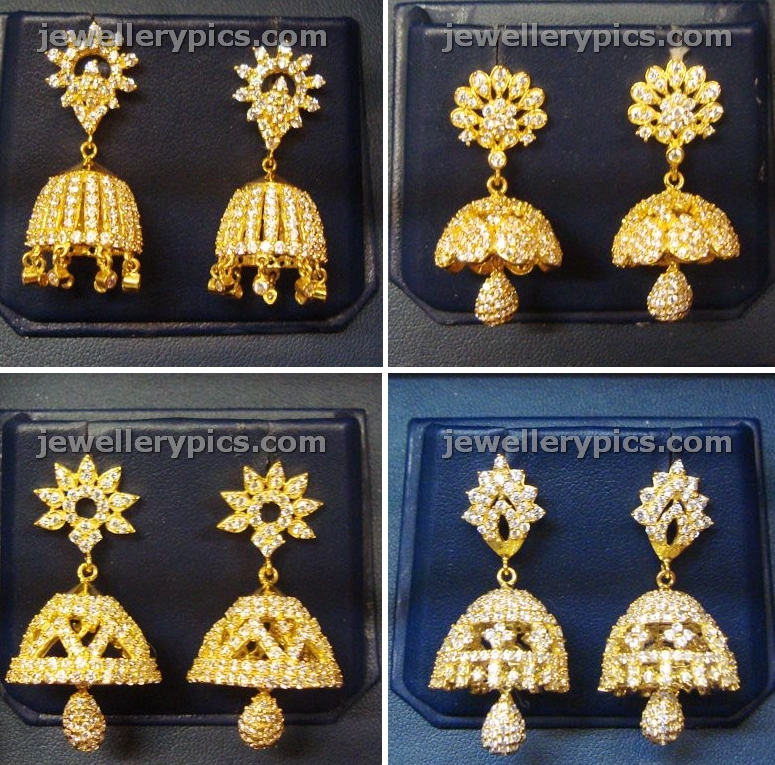 Here are some classic pairs of gold and white stoned jhumkis that