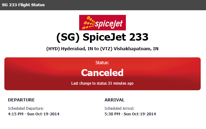 SG 233 SpiceJet Vizag VTZ to (HYD) Hyderabad 5:30 PM Cancelled