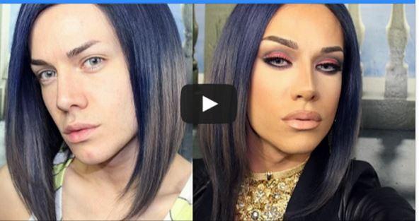 فيديو صادم : شاب يتحول لفتاة جميلة فقط بالمكياج!