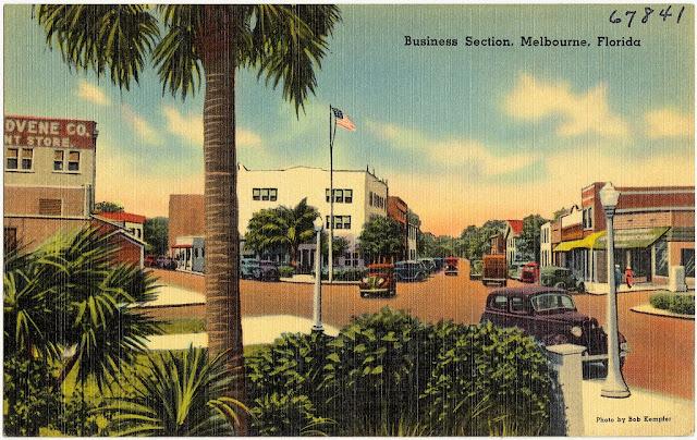 Downtown Vintage Posctcard Melbourne Florida