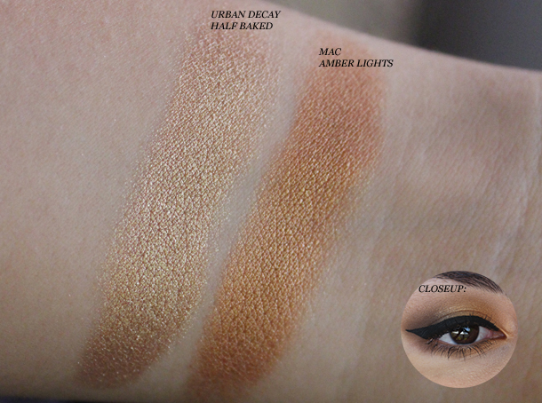mac amber lights swatch makeup look urban decay half baked