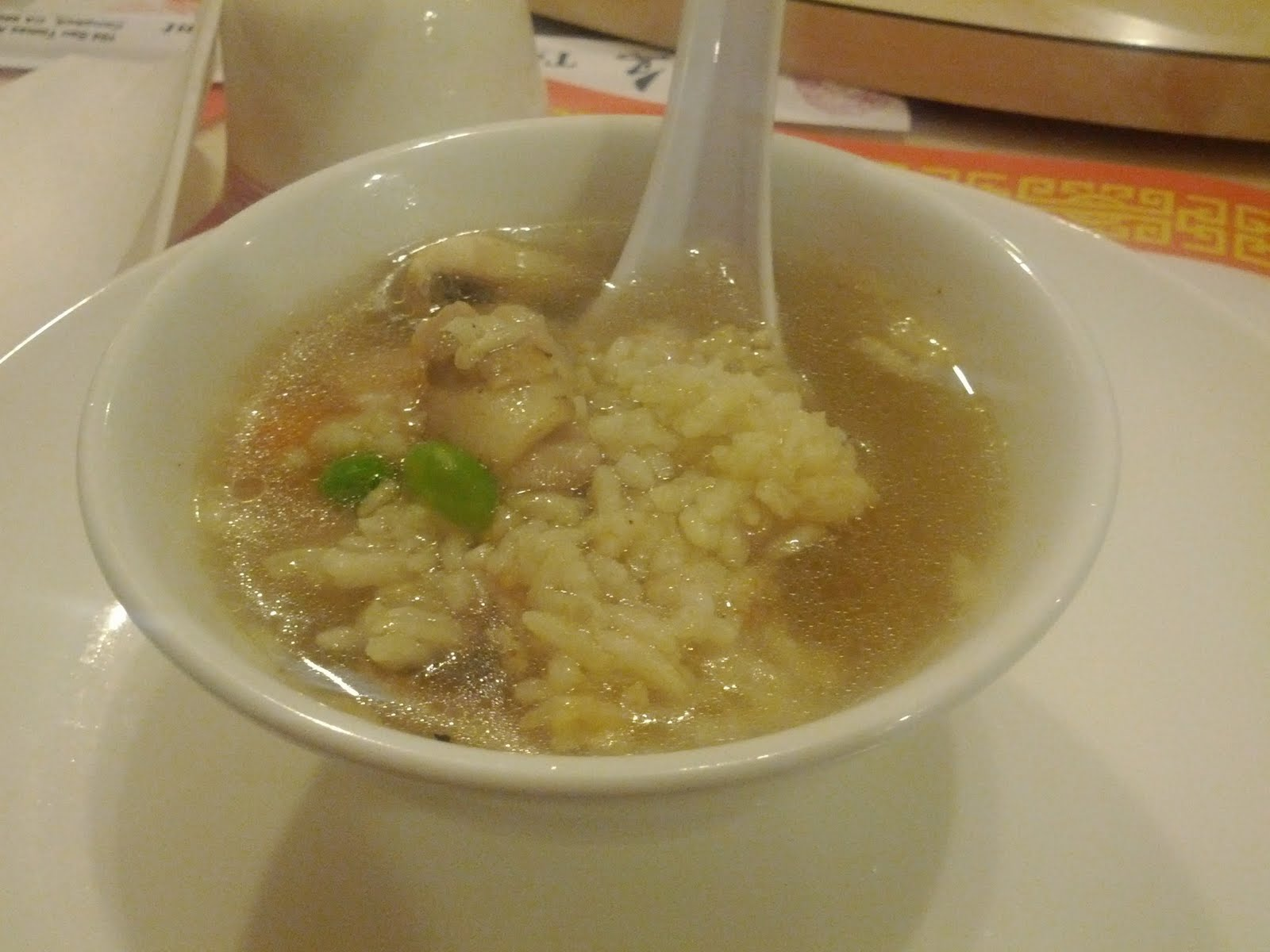 Dinner: Sizzling rice soup from Tsing Tao